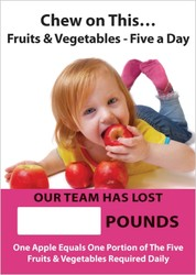 Digi-Day® Magnetic Face: Chew On This - Fruits & Vegetables - Five A Day - Our Team Has Lost _ Pounds